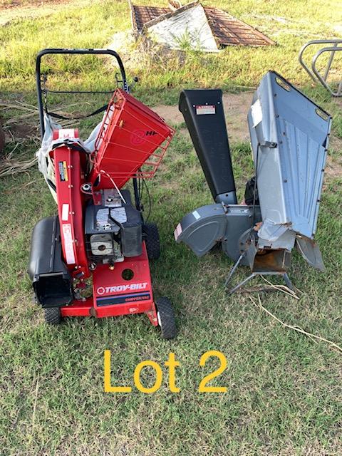 LOT #2 - 2 wood chippers w/ gas motors (NO RESERVE)